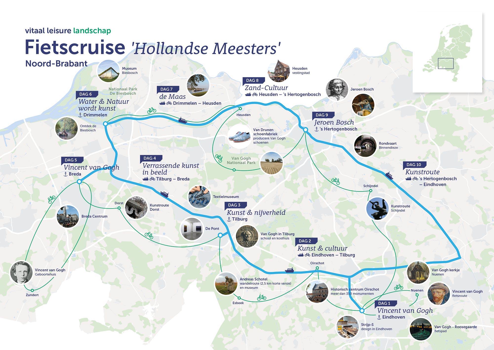 Fietscruise kaart Een Gezond Leisureklimaat infographic JAgd ontwerp