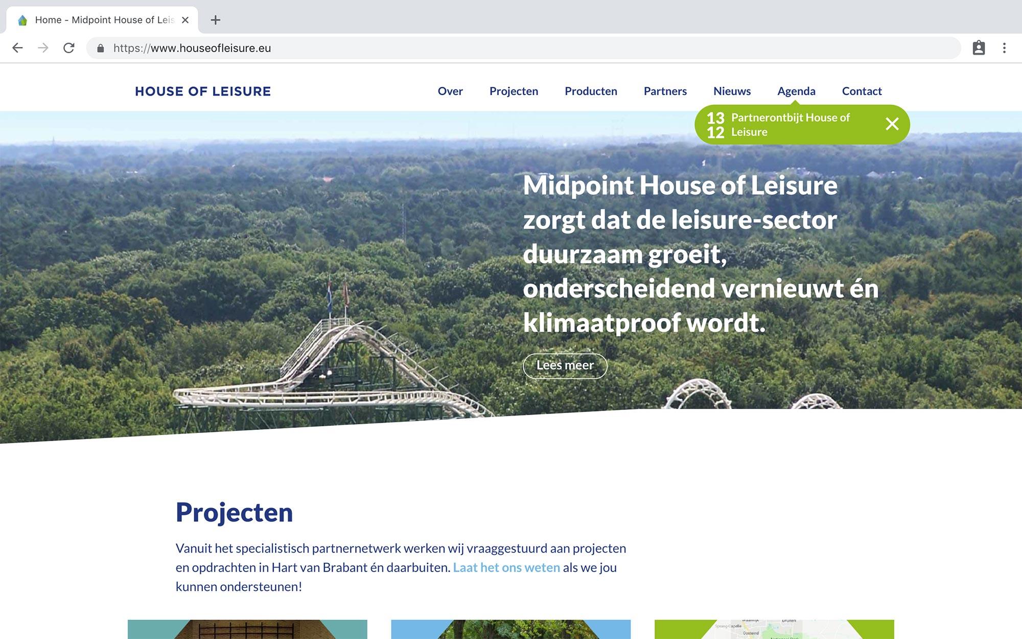 House of Leisure website JAgd ontwerp