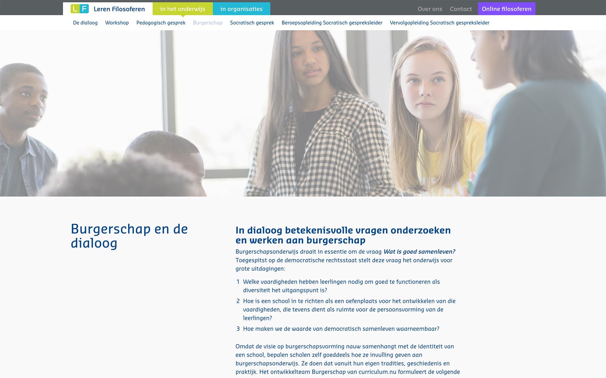 Leren Filosferen website JAgd ontwerp 2